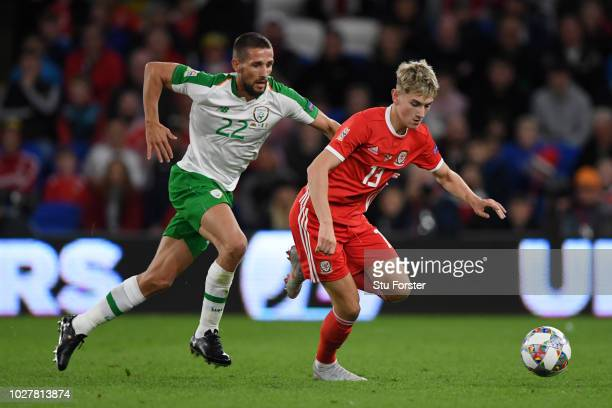 David Brooks of Wales is challenged by Conor Hourihane of Republic of Ireland during the UEFA Nations League B group four match between Wales and...