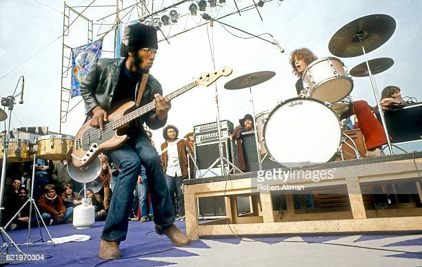 David Brown and Michael Shrieve of the music group Santana perform on stage at The Altamont Speedway on December 6 1969 in Livermore California