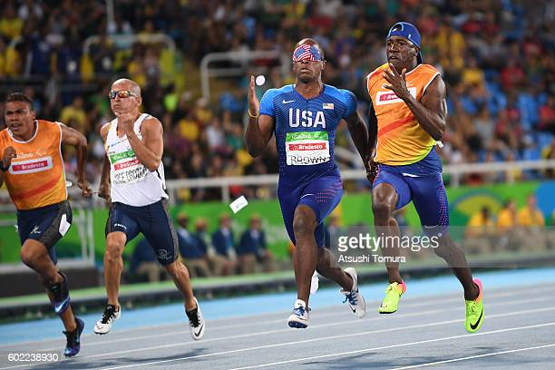 David Brown of the USA competes in the men's 100m T11 semi final on day 3 of the Rio 2016 Paralympic Games at Olympic stadium on September 10 2016 in...