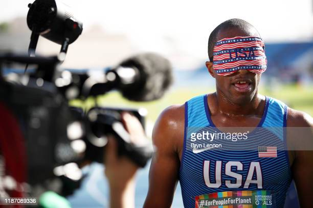 David Brown of the USA of the USA is interviewed after round 1 of the Men's 100m T11 during Day Six of the IPC World Para Athletics Championships...