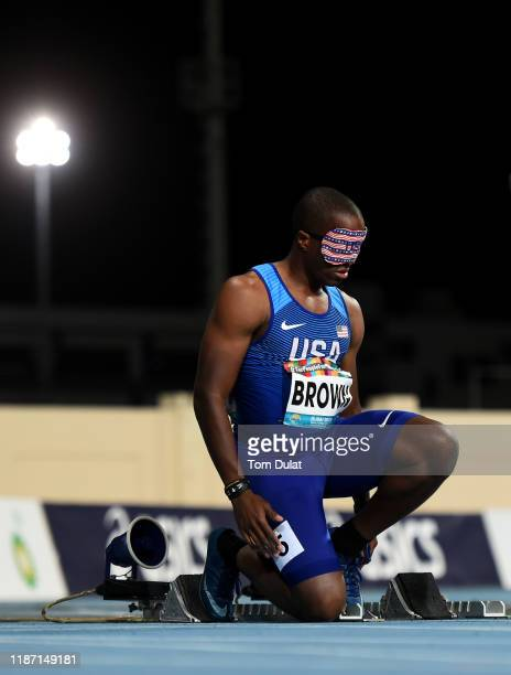 David Brown of United States prepares prior to the Men's 100m T11 semi-final race on Day Six of the IPC World Para Athletics Championships 2019 Dubai...