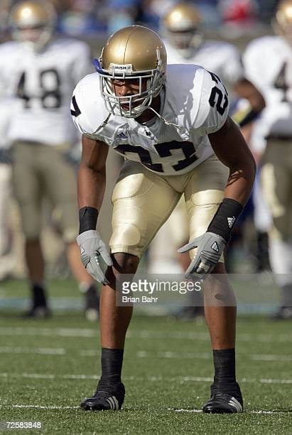 David Bruton of the Notre Dame Fighting Irish gets ready to move during the game against the Air Force Falcons on November 11 2006 at Falcon Stadium...