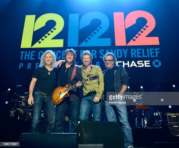 David Bryan Richie Sambora Jon Bon Jovi and Tico Torres of Bon Jovi on stage at rehearsals for 121212 The Concert For Sandy Relief at Madison Square...