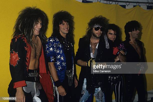 David Bryan Richie Sambora Jon Bon Jovi Tico Torres and Alec John Such of Bon Jovi backstage circa 1986