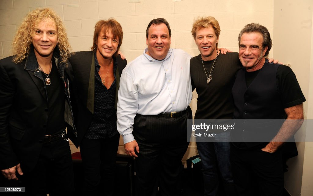 David Bryan, Richie Sambora, New Jersey Governor Chris Christie, Jon Bon Jovi and TIco Torres backstage during '12-12-12' a concert benefiting The Robin Hood Relief Fund to aid the victims of Hurricane Sandy presented by Clear Channel Media & Entertainment, The Madison Square Garden Company and The Weinstein Company>> at Madison Square Garden on December 12, 2012 in New York City.