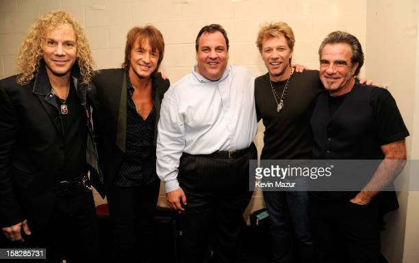David Bryan Richie Sambora New Jersey Governor Chris Christie Jon Bon Jovi and TIco Torres backstage during '121212' a concert benefiting The Robin...