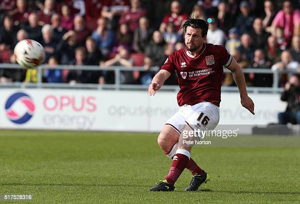 David Buchanan of Northampton Town in action during the Sky Bet League Two match between Northampton Town and Newport County at Sixfields Stadium on...