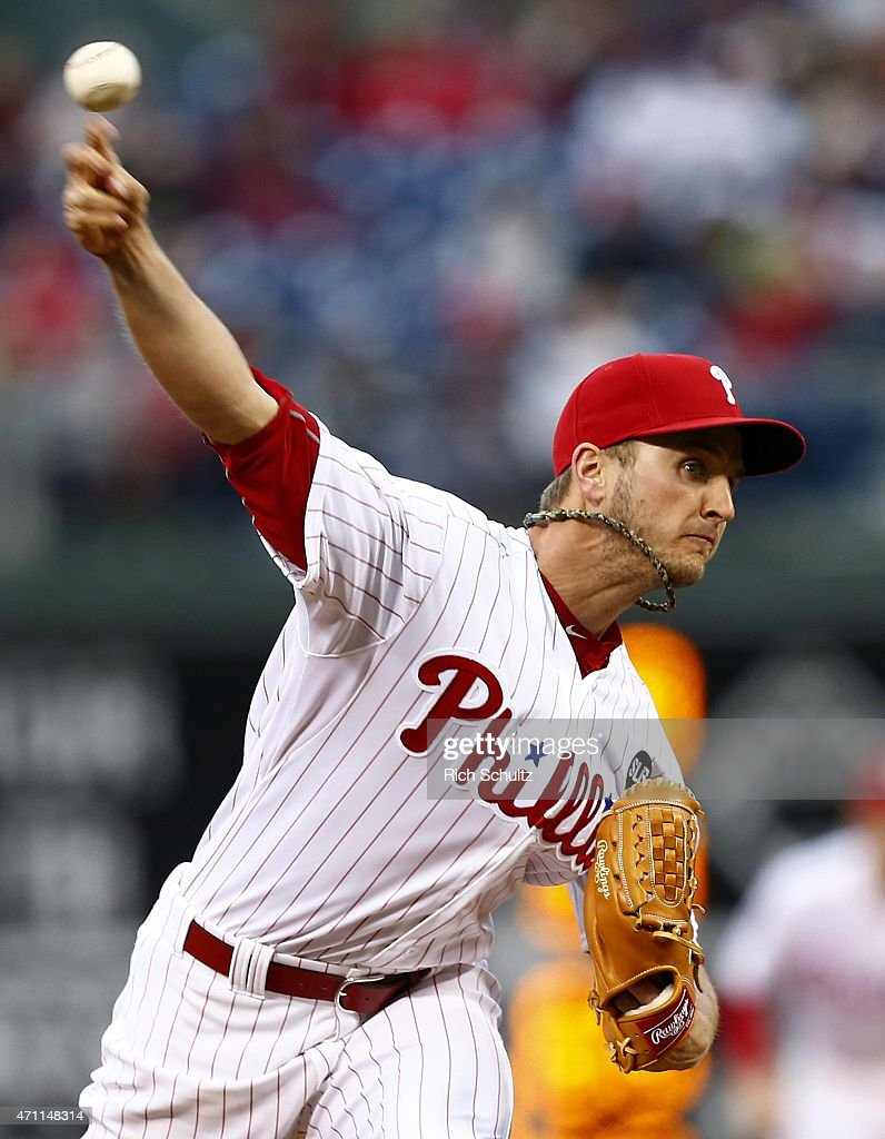 David Buchanan #55 of the Philadelphia Phillies delivers a pitch against the Atlanta Braves during the first inning of a game at Citizens Bank Park on April 24, 2015 in Philadelphia, Pennsylvania.