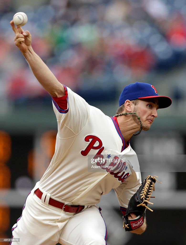 David Buchanan #55 of the Philadelphia Phillies delivers a pitch during the second inning of an MLB game against the Miami Marlins at Citizens Bank Park on October 4, 2015 in Philadelphia, Pennsylvania.