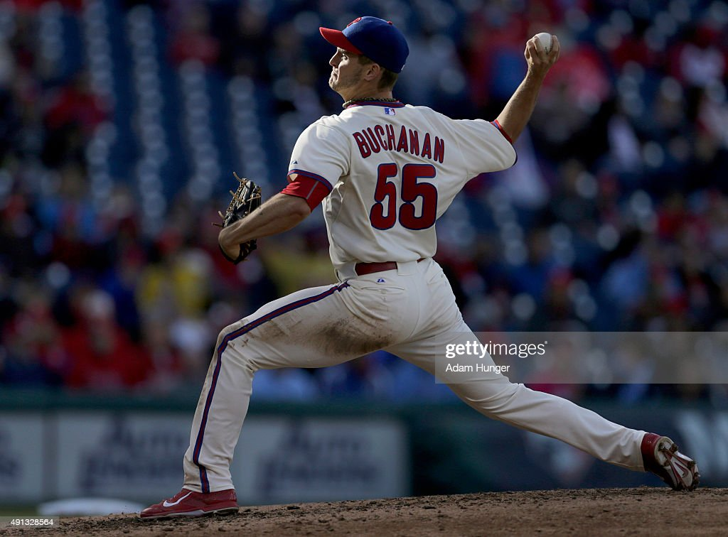 David Buchanan #55 of the Philadelphia Phillies delivers a pitch during an MLB game against the Miami Marlins at Citizens Bank Park on October 4, 2015 in Philadelphia, Pennsylvania. The Phillies defeated the Marlins 7-2.