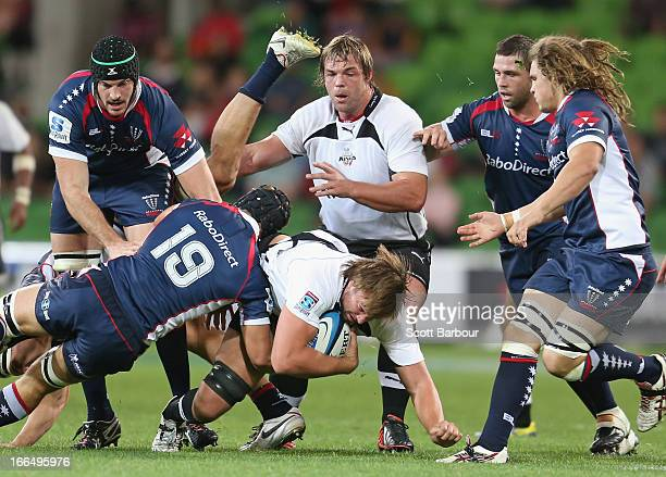 David Bulbring of the Kings is tackled during the round nine Super Rugby match between the Rebels and the Kings at AAMI Park on April 13 2013 in...