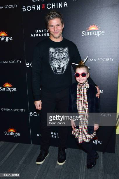 "David Burtka and Harper Grace Burtka-Harris attend Disneynature and The Cinema Society Host the Premiere of ""Born in China"" at the Landmark Sunshine..."