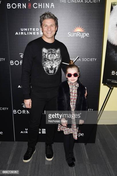 David Burtka and Harper Grace BurtkaHarris attend the Disneynature With The Cinema Society Host The Premiere Of Born In China at Landmark Sunshine...