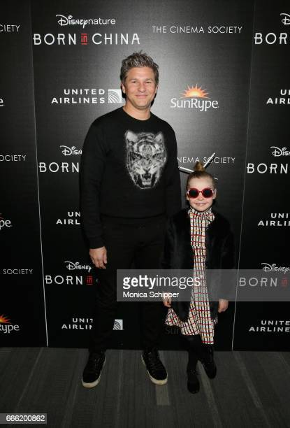 David Burtka and Harper Grace BurtkaHarris attends Dr Jane Goodall Director Lu Chuan And Producers Roy Conli And Brian Leith Arrive At The New York...