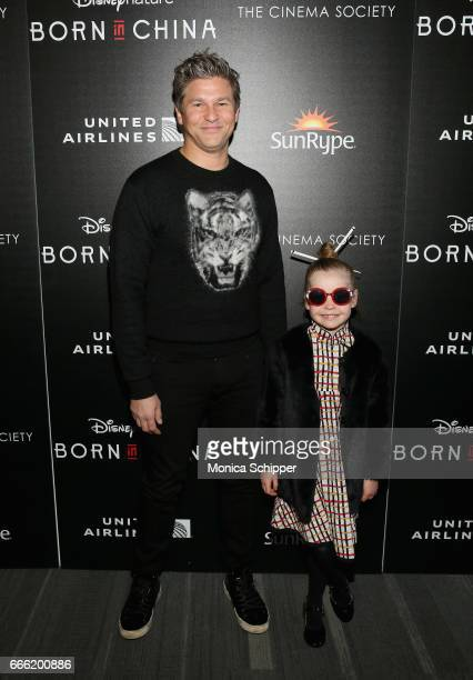 David Burtka and Harper Grace Burtka-Harris attends Dr. Jane Goodall, Director Lu Chuan And Producers Roy Conli And Brian Leith Arrive At The New...