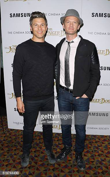 David Burtka and husband Neil Patrick Harris attend the screening of The Jungle Book hosted by Disney with The Cinema Society and Samsung at AMC...