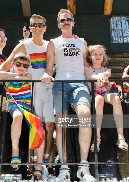 David Burtka and Neil Patrick Harris are seen with twins Gideon and Harper on June 30, 2019 in New York City.