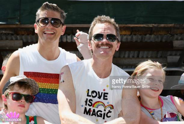 David Burtka and Neil Patrick Harris are seen with twins Gideon and Harper on June 30 2019 in New York City