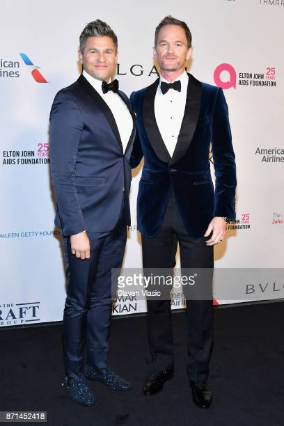 David Burtka and Neil Patrick Harris attend the Elton John AIDS Foundation's Annual Fall Gala with Cocktails By Clase Azul Tequila at Cathedral of St...
