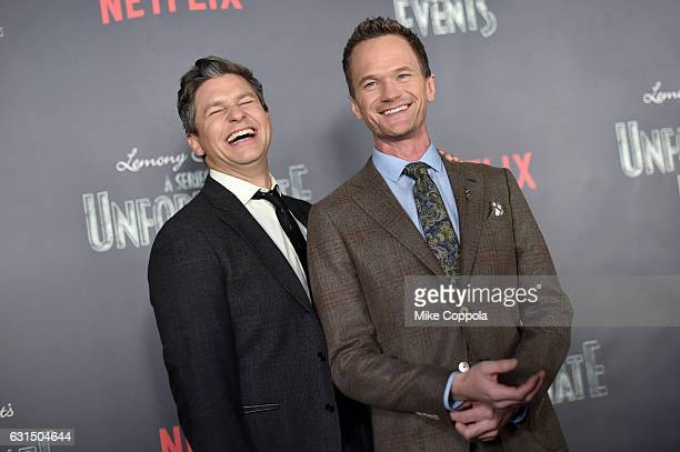 David Burtka and Neil Patrick Harris attend the Lemony Snicket's A Series Of Unfortunate Events Screening at AMC Lincoln Square Theater on January 11...