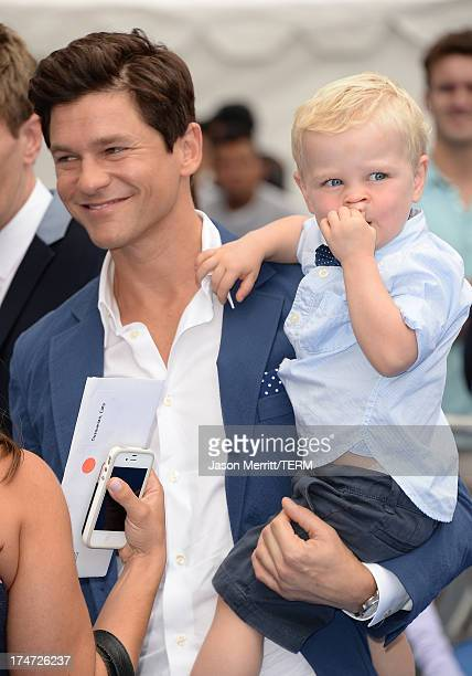 David Burtka and son Gideon Scott BurtkaHarris attend the premiere of Columbia Pictures' Smurfs 2 at Regency Village Theatre on July 28 2013 in...