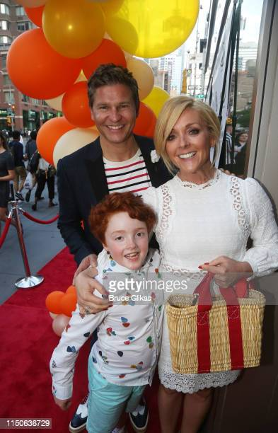 """David Burtka, Bennett Robert Godley and mother Jane Krakowski pose at the opening night celebration for """"Pip's Island"""" benefiting the Hole in the..."""