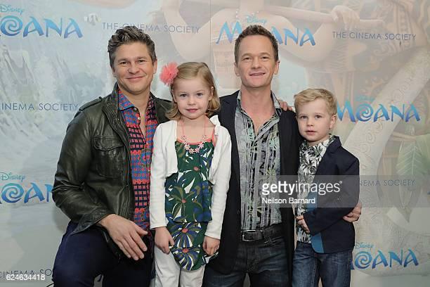 "David Burtka, Harper Grace Burtka-Harris, Neil Patrick Harris and Gideon Scott Burtka-Harris attend the Cinema Society Screening of Disney's ""Moana""..."