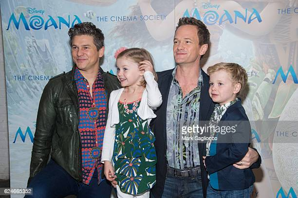 David Burtka Harper Grace BurtkaHarris Neil Patrick Harris and Gideon Scott BurtkaHarris attend the Disney Special Screening Of Moanaat Metrograph on...