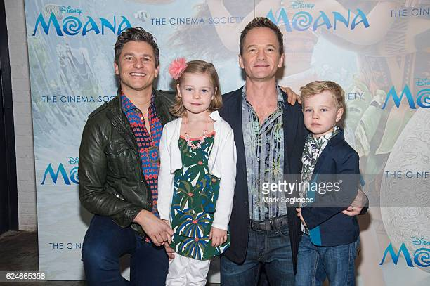 David Burtka Harper Grace BurtkaHarris Neil Patrick Harris and Gideon Scott BurtkaHarris attend the Disney Special Screening Of 'Moana'at Metrograph...