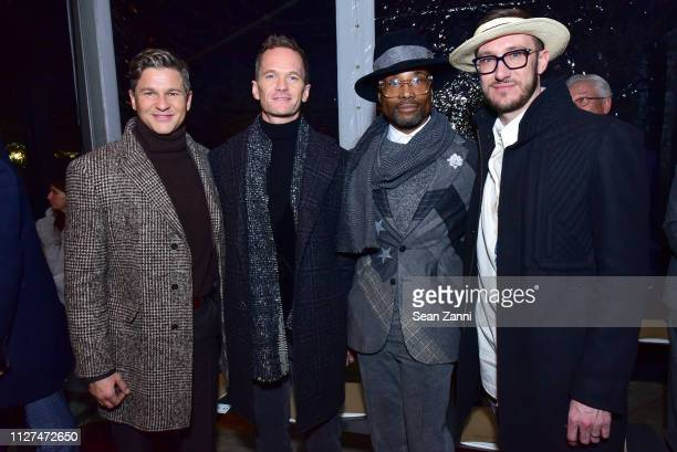 David Burtka Neil Patrick Harris Billy Porter and Adam Smith attend Joseph Abboud Men's FW19 Runway Show at South Street Seaport on February 04 2019...