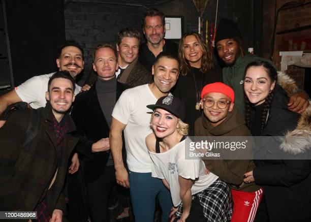 David Burtka Neil Patrick Harris Mariska Hargitay and Peter Hermann pose with the cast backstage at the hit musical based on the Baz Luhrmann film...