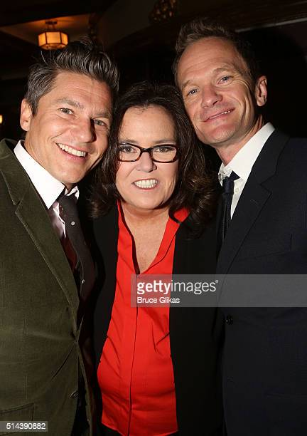 """David Burtka, Rosie O'Donnell and Neil Patrick Harris pose at the Opening Night for the new musical """"Disaster!"""" on Broadway at The Nederlander..."""