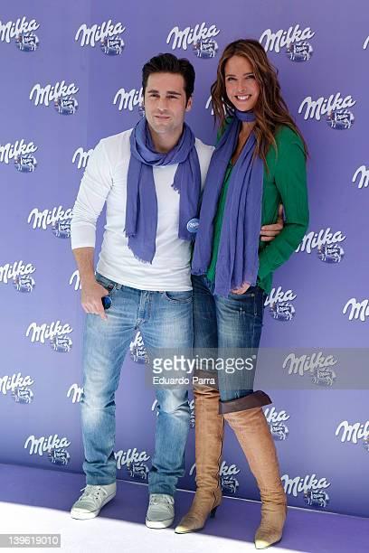 David Bustamante and Estefania Luyk attend Milka event photocall at Felipe II circus on February 23 2012 in Madrid Spain