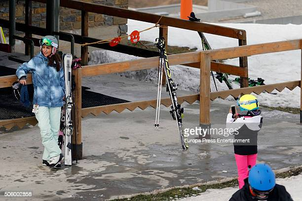 David Bustamante and her daughter Daniela Bustamante are seen on December 31 2015 in Baqueira Beret Spain