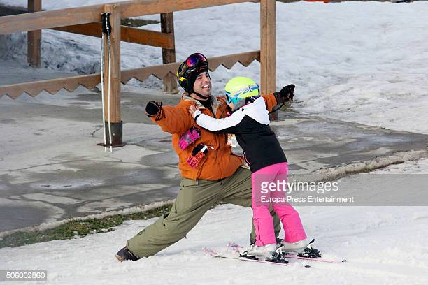 David Bustamante and his daughter Daniela Bustamante are seen on December 31 2015 in Baqueira Beret Spain