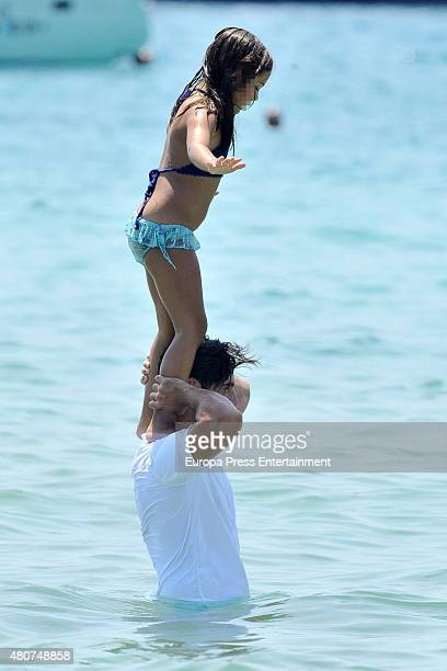 David Bustamante and his daughter Daniela Bustamante are seen on July 14 2015 in Ibiza Spain