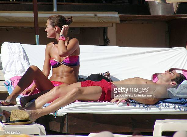 David Bustamante and Paula Echevarria are seen on the beach on July 19 2012 in Ibiza Spain