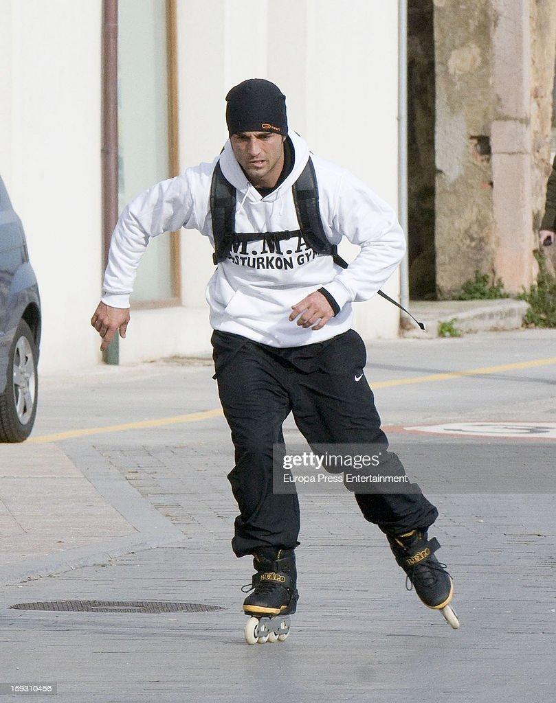 David Bustamante is seen rolling skates on December 25, 2012 in Oviedo, Spain.