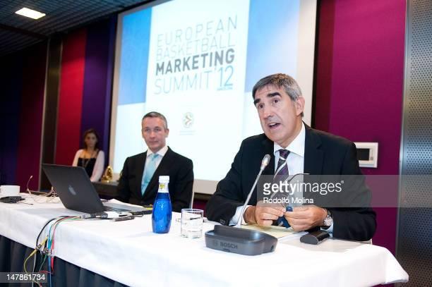 David Butler, Director Loxley & Co and Jordi Bertomeu, CEO Euroleague Basketball during the European Basketball Marketing Summit at ME Hotel on July...
