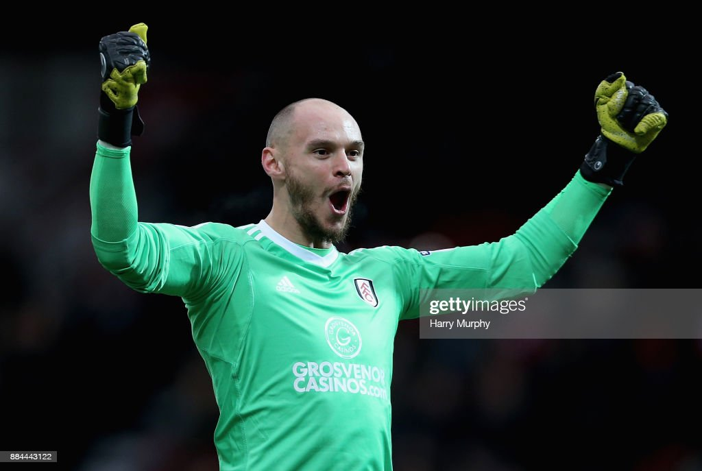 David Button of Fulham celebrates his sides opening goal during the Sky Bet Championship match between Brentford and Fulham at Griffin Park on December 2, 2017 in Brentford, England.