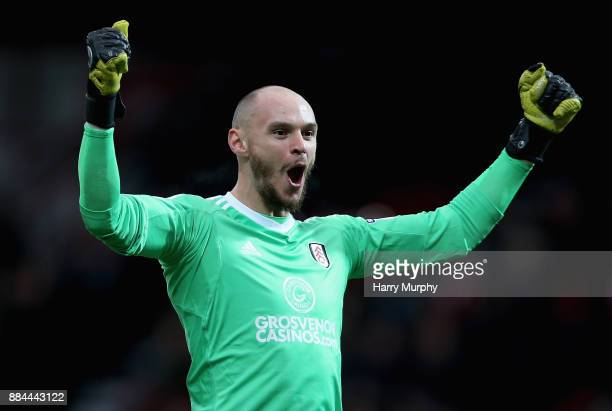 David Button of Fulham celebrates his sides opening goal during the Sky Bet Championship match between Brentford and Fulham at Griffin Park on...