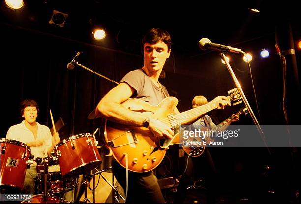 David Byrne and Chris Frantz and Tina Weymouth from Talking Heads perform live on stage in New York in 1977