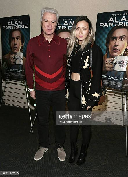 David Byrne and daughter Malu Abeni Valentine Byrne attend the Alan Partridge New York screening at Landmark's Sunshine Cinema on April 2 2014 in New...