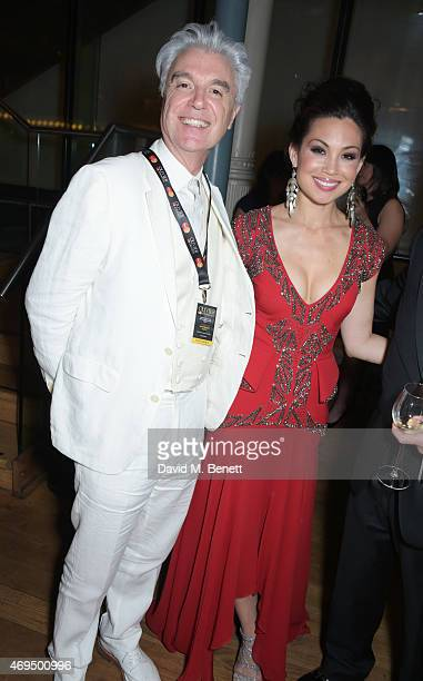 David Byrne and Natalie Mendoza attend The Olivier Awards after party at The Royal Opera House on April 12 2015 in London England
