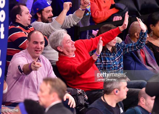 David Byrne attends San Antonio Spurs v New York Knicks game at Madison Square Garden on February 24 2019 in New York City