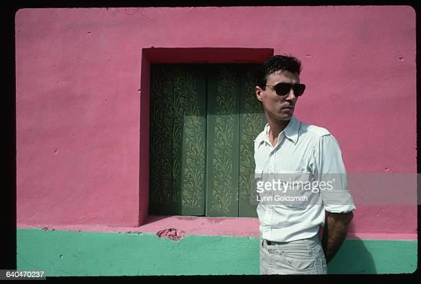 David Byrne by Pink Building