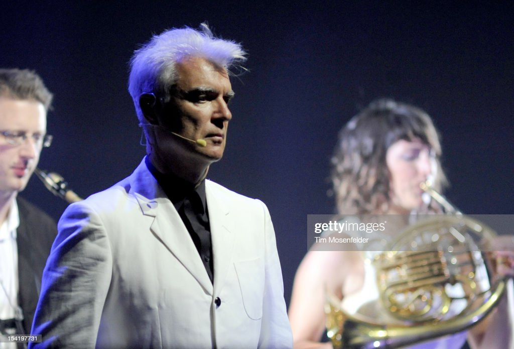 David Byrne of David Byrne & St. Vincent perform in support of the duo's Love This Giant release at the Orpheum Theatre on October 15, 2012 in San Francisco, California.