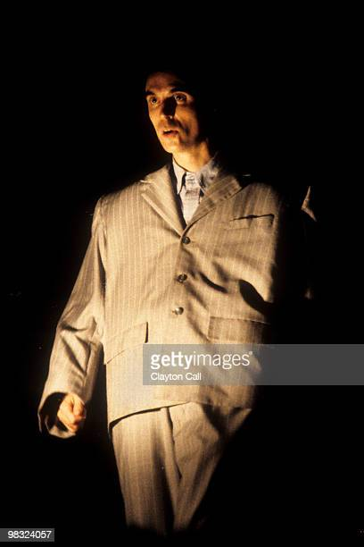 David Byrne performing with Talking Heads wearing a large oversize suit at the Greek Theater in Berkeley on September 4 1983