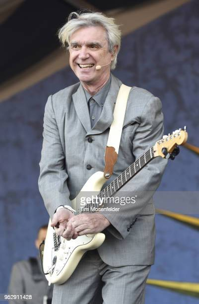 David Byrne performs during the 2018 New Orleans Jazz Heritage Festival at Fair Grounds Race Course on April 29 2018 in New Orleans Louisiana