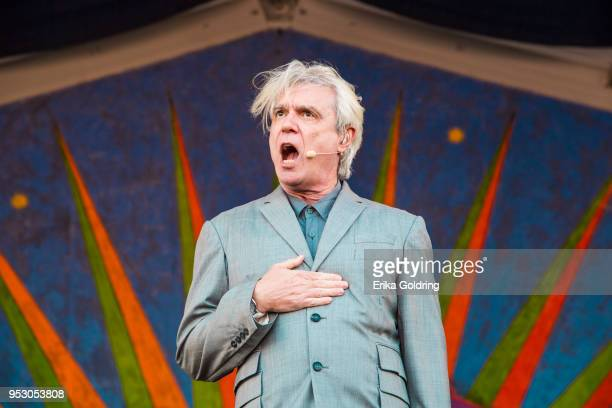David Byrne performs during the New Orleans Jazz Heritage Festival at Fair Grounds Race Course on April 29 2018 in New Orleans Louisiana